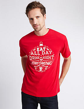 Pure Cotton Christmas Printed T-Shirt