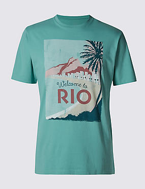 Pure Cotton Rio Olympic Print T- Shirt