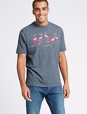 Pure Cotton Printed Crew Neck T-Shirt, DENIM MIX, catlanding