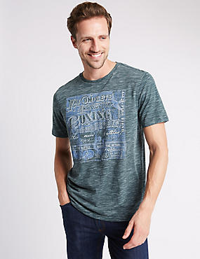 Tailored Fit Cotton Blend Boxing Printed T-Shirt