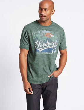Cotton Blend Printed Crew Neck T-Shirt, DUSTY GREEN, catlanding