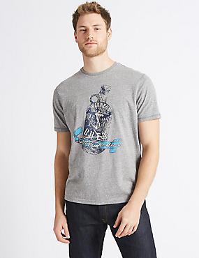 Cotton Blend Printed Crew Neck T-Shirt, MID GREY, catlanding