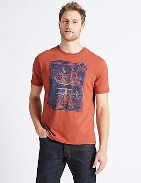 Pure Cotton Printed Crew Neck T-Shirt, RUST MIX, catlanding