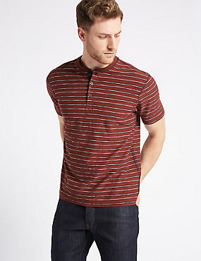 Pure Cotton Striped Top, RED MIX, catlanding