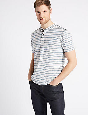 Pure Cotton Striped Top, ECRU MIX, catlanding