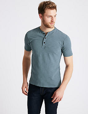 Slim Fit Pure Cotton Textured Top, INDIGO, catlanding