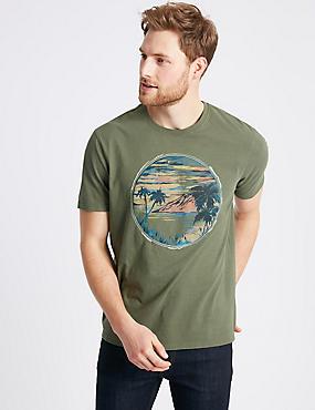 Pure Cotton Printed Crew Neck T-shirt, KHAKI, catlanding