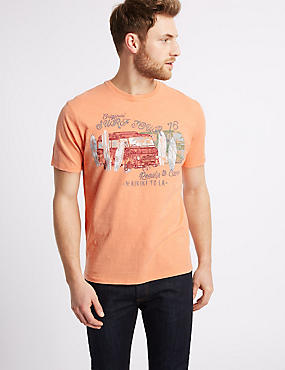 Pure Cotton Car Print Crew Neck T-Shirt, ORANGE, catlanding