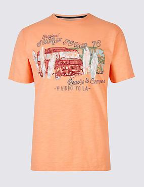 Pure Cotton Printed Crew Neck T-Shirt, ORANGE, catlanding
