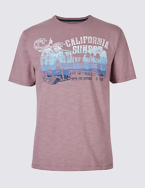 Pure Cotton Printed Crew Neck T-Shirt, PURPLE, catlanding