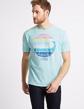 Pure Cotton Printed Crew Neck T-Shirt, AQUA, catlanding