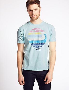 Slim Fit Pure Cotton Crew Neck T-Shirt, AQUA, catlanding