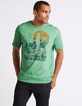 Pure Cotton Printed Crew Neck T-Shirt, GREEN, catlanding