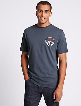 Slim Fit Pure Cotton Crew Neck T-Shirt, DARK DENIM, catlanding