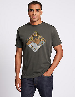 Slim Fit Pure Cotton Crew Neck T-Shirt, DARK GREY, catlanding
