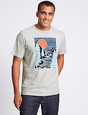 Slim Fit Pure Cotton Crew Neck T-Shirt, ECRU MIX, catlanding
