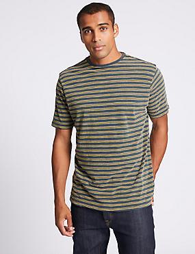 Slim Fit Pure Cotton Crew Neck T-Shirt, NAVY MIX, catlanding