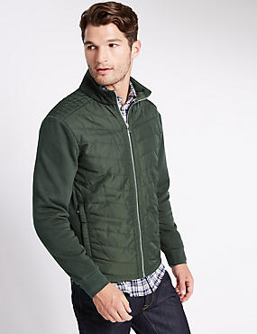 Quilted Front Zip Sweatshirt