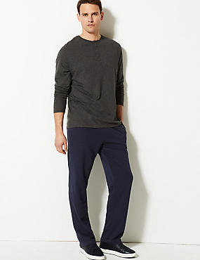 Cotton Rich Lightweight Joggers with StayNEW™, NAVY, catlanding