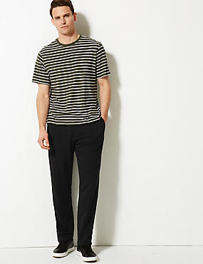 Cotton Rich Lightweight Joggers with StayNEW™, BLACK, catlanding