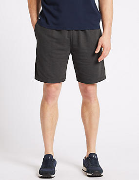 Elastic Waist Sweat Shorts, CHARCOAL MIX, catlanding