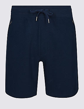 Pure Cotton Textured Shorts, NAVY, catlanding