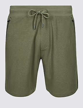 Pure Cotton Textured Shorts, KHAKI, catlanding