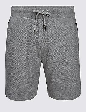 Pure Cotton Textured Shorts, GREY, catlanding