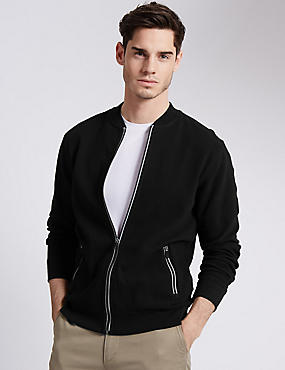 Pure Cotton Tailored Fit Bomber Sweatshirt