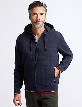 Cotton Rich Zip Through Hooded Top, NAVY, catlanding