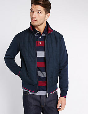 Quilted Zipped Through Sweatshirt