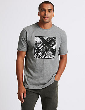 Pure Cotton Printed Crew Neck T-shirt, GREY MIX, catlanding