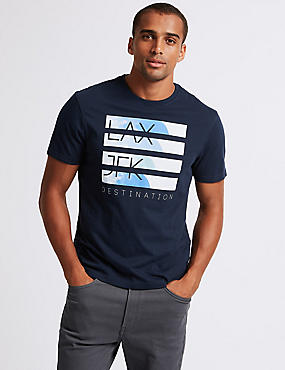 Slim Fit Printed Crew Neck T-Shirt, NAVY, catlanding