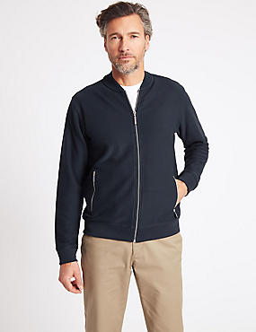Pure Cotton Textured Bomber Jacket, NAVY, catlanding