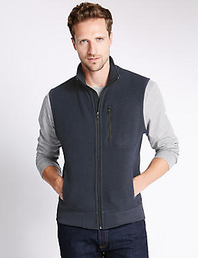 Tailored Fit Textured Gilet Fleece Top