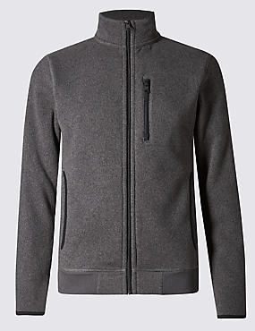 Tailored Fit Textured Funnel Neck Fleece Jacket