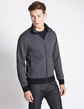 Tailored Fit Textured Fleece Jacket