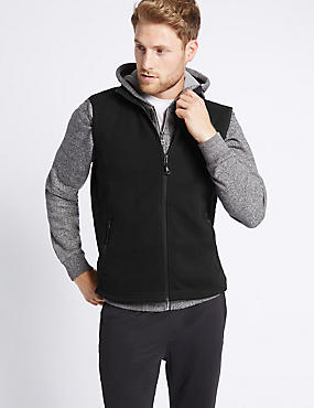 Crew Neck Fleece Gilet, BLACK, catlanding