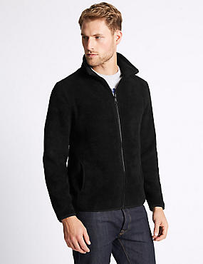 Textured Zipped Through Fleece Jacket, BLACK, catlanding