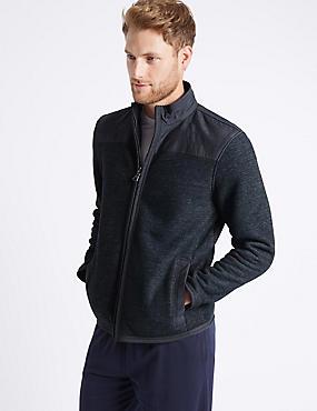 Cotton Rich Zipped Through Fleece Jacket, INDIGO, catlanding