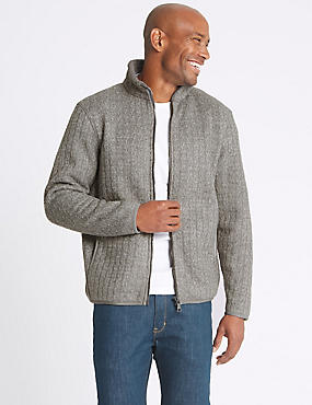 Textured Zipped Through Fleece Top