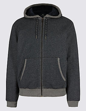 Pure Cotton Fleece Lined Hooded Top