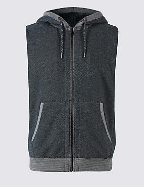 Pure Cotton Textured Hooded Gilet