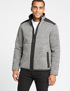 Textured Fleece Jacket, GREY MIX, catlanding