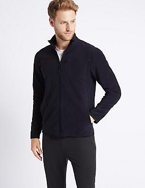 Pure Cotton Fleece Lined Jacket, NAVY, catlanding