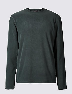 Crew Neck Fleece Top, BOTTLE GREEN, catlanding