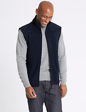 Textured Zipped Through Fleece Jacket, NAVY, catlanding
