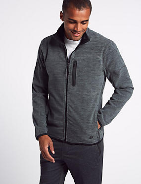 Zipped Through Fleece Jacket with Stormwear™, DARK GREY MIX, catlanding