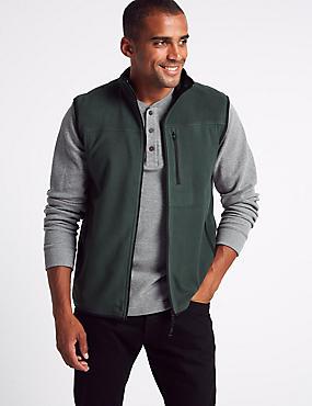 Zipped Through Fleece Gilet, GREEN, catlanding