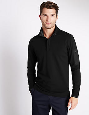 Cotton Rich Tailored Fit Stretch Rugby Top